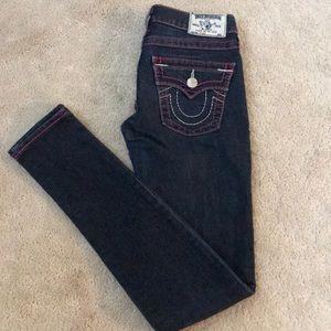 Dark wash pink stitch true religion jeans